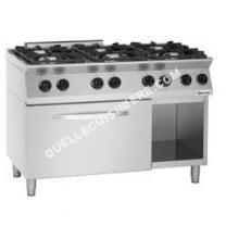 cuisinière Bartscher  Cuisiniere 6 feux Mfg 7360 avec four electrique Gn 2/1 et soubassement ouvert