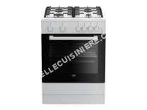 cuisinière BEKO FSG62110DWCS  Cuisinière  pose libre  largeur  60 cm  profondeur  60 cm  hauteur  85 cm  avec système autonettoyant  classe A+  blanc