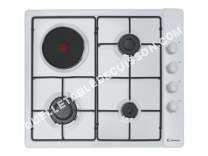 table de cuisson CANDY PLine CLG 31 SPB  Table de cuisson gaz et électrique  4 plaques de cuisson  Niche  largeur   cm  profondeur  48 cm  blanc