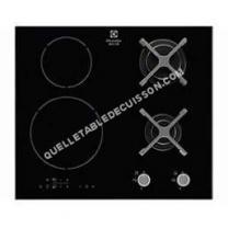 table de cuisson ELECTROLUX EGD6576NOK  Table de cuisson mite gaz / induction   zones  8W et 37W  L59  P52cm  Revêtement verre  Noir