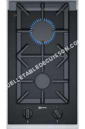 table de cuisson NEFF Domino N3T9N0  Table de cuisson au gaz   plaques de cuisson  Niche  largeur   cm  profondeur  49 cm  noir/acier inoxydable  avec garnitures en acier inoxydable  noir/inox