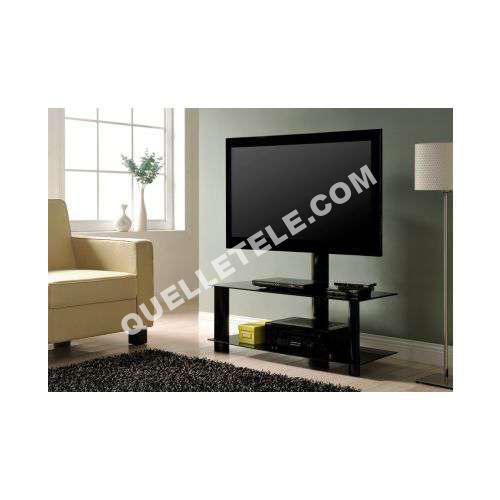 vente unique meuble tv ricardo 2 tablettes en verre tremp noir lcd moins cher. Black Bedroom Furniture Sets. Home Design Ideas