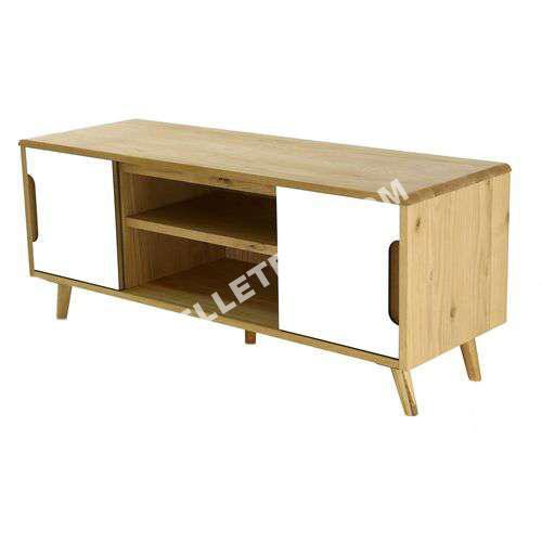 Zago meuble tv en bois et formica avec 2 es et 2 niches for Meuble zago avis