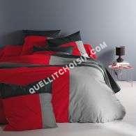 lit 3 Suisses Collection Housse De Couette 1 Ou 2 persoes En Pur Coton Rouge/gris/noir