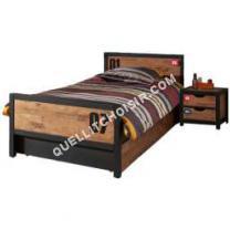 lit Comforium Ensemble lit 90x200cm avec chevet et tiroir-lit pour chambre  coucher moderne coloris brun et noir