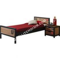 lit Comforium Ensemble lit 90x200cm avec chevet pour chambre  coucher moderne coloris brun et noir