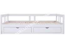 Lit Enfant Conforama Lit Banquette Gigogne X90x190 Cm Tiroirs Melody Coloris Blanc Moins Cher