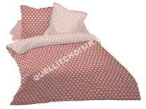 lit CONFORAMA CONFORAMA Parure housse de couette 240x260 cm + 2 taies d'oreiller MIROIR coloris rose