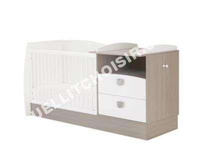 lit volutif b b 60 x 120 cm koala blanc fr ne gris lit enfant moins ch. Black Bedroom Furniture Sets. Home Design Ideas