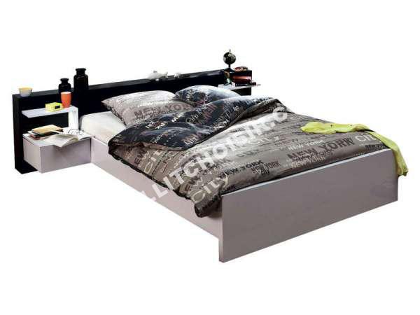 conforama lit 140x190 cm 2 chevets led lano nouveautes. Black Bedroom Furniture Sets. Home Design Ideas