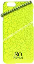 mobile SO SEVEN Coque  iPhone 6/6S Fluo jaune craquelé+Bracelet