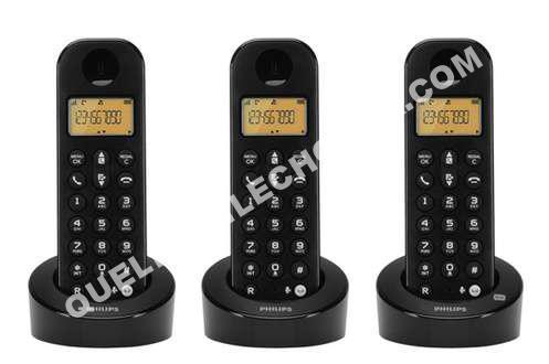 nouveautesphilipsdb fr trio noir telephone fixe sans fil avec repondeur  combines